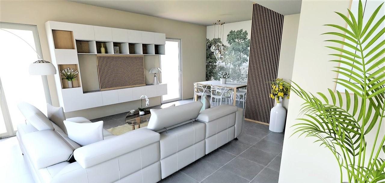 Conception et Décoration Appartement neuf à Aix en Provence - La pièce de vie avec meuble sur mesure et claustra, par Myll décors , Agence de décoration à Aix en Provence et dans le Var