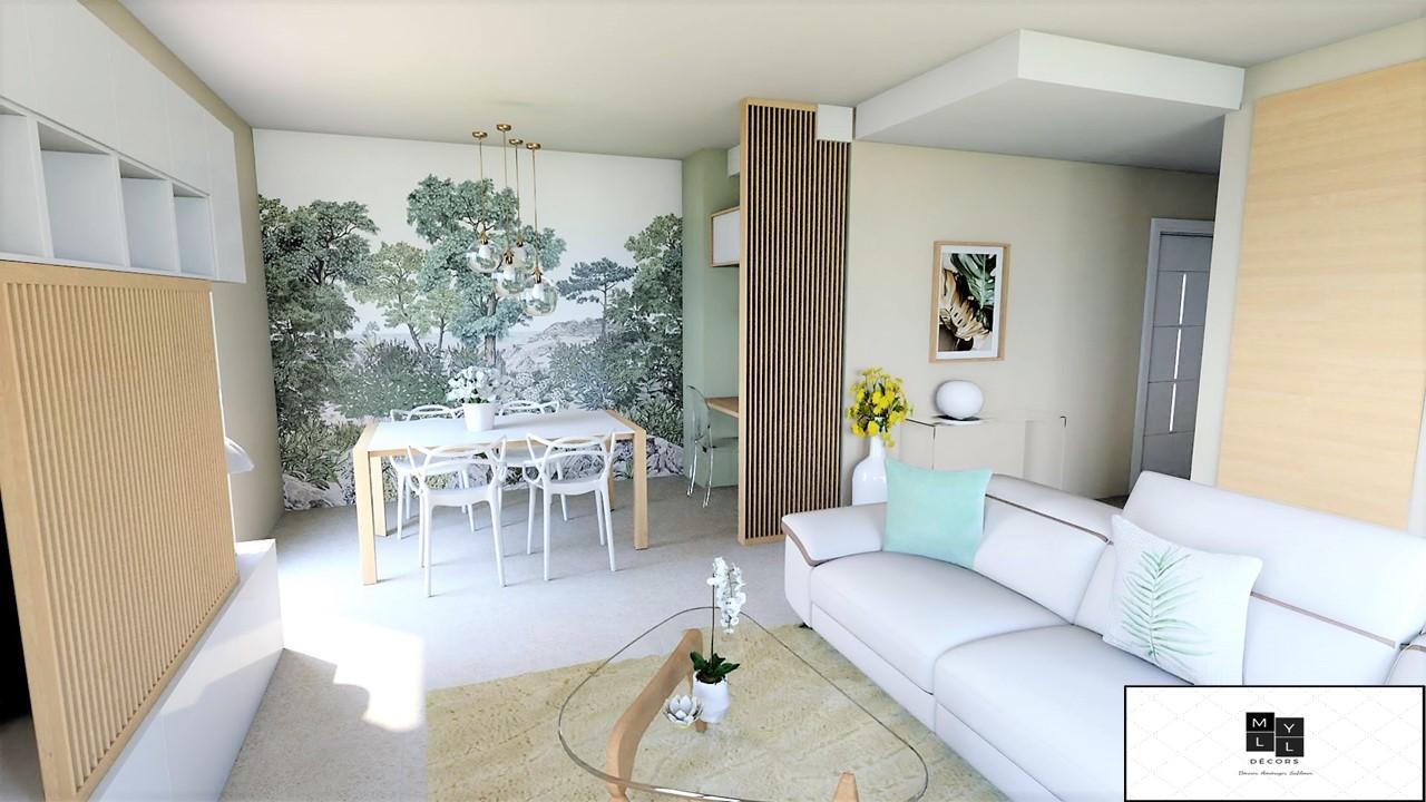 Conception et Décoration Appartement neuf à Aix en Provence - La pièce de vie avec papier peint panoramique paysage, par Myll décors , Agence de décoration à Aix en Provence et dans le Var