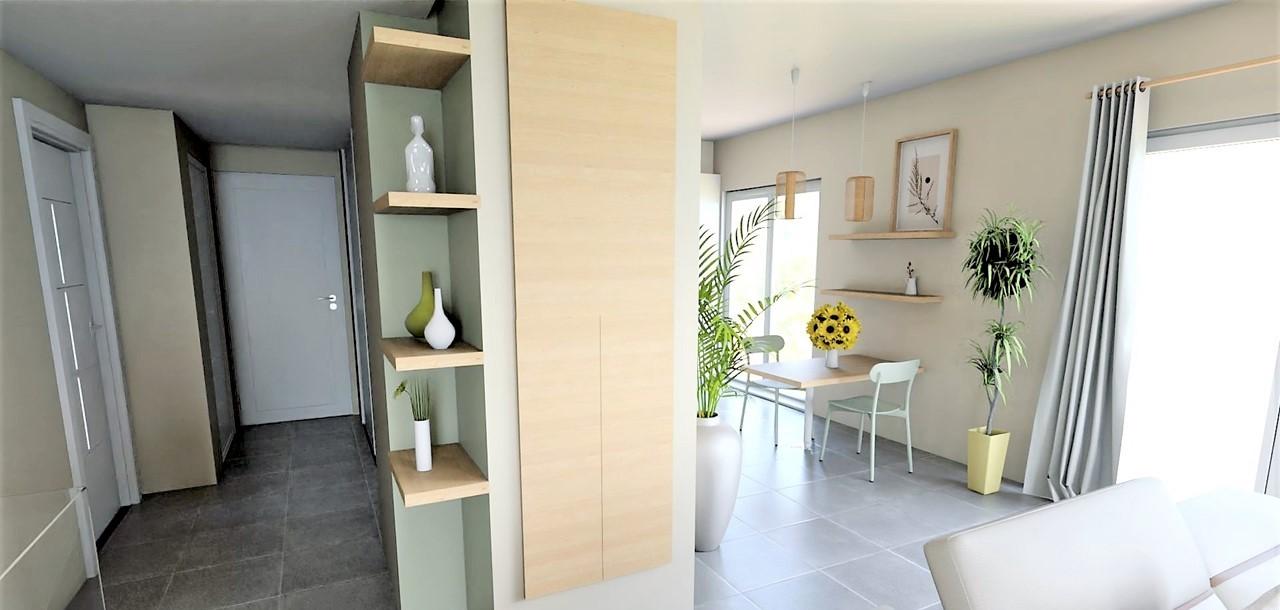 Conception et Décoration Appartement neuf à Aix en Provence - Le couloir cuisine meuble entrée étagères, par Myll décors , Agence de décoration à Aix en Provence et dans le Var