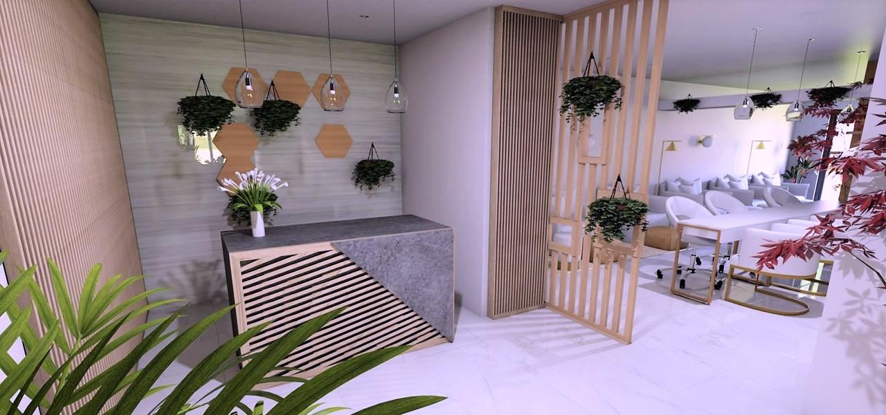 Décoration et agencement Institut de Nail Art à Marseille - Projet 3D pour l'agencement de l'espace accueil comptoir en bois et pierre, par Myll décors , Agence de décoration à Aix en Provence et dans le Var