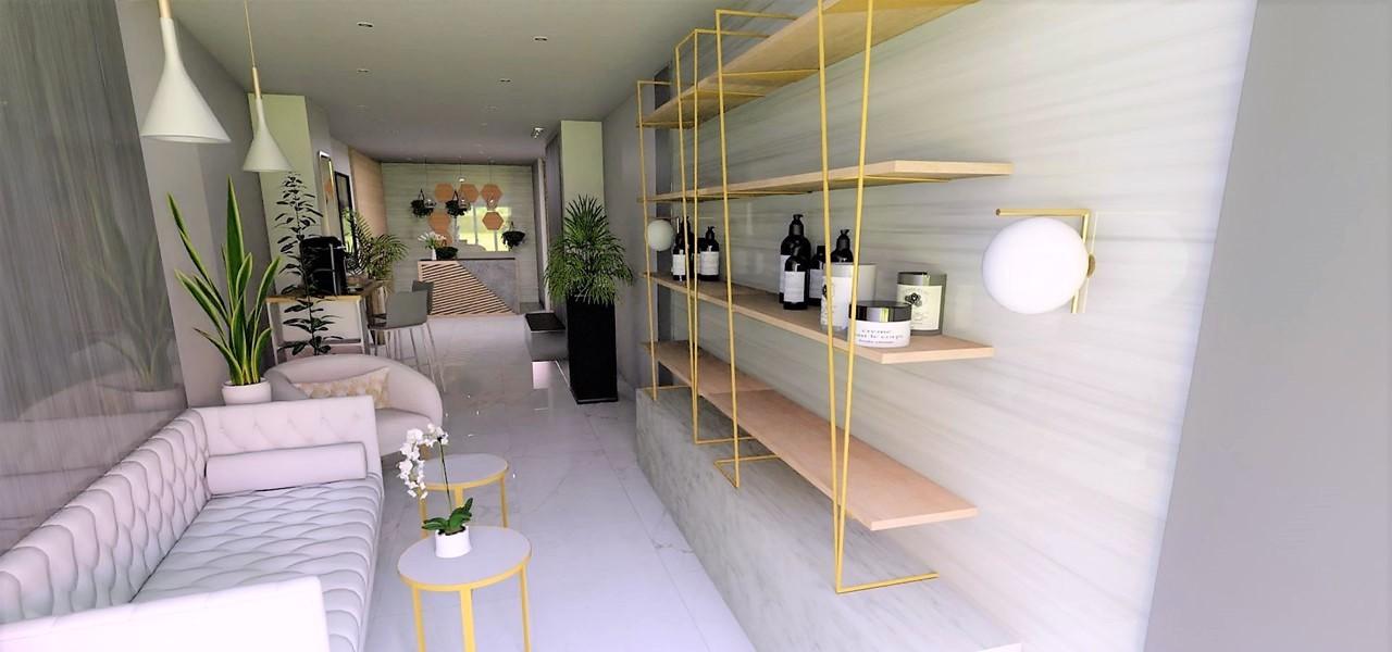 Décoration et agencement Institut de Nail Art à Marseille - Projet 3D pour l'agencement de l'espace attente et vente de cosmétiques, par Myll décors , Agence de décoration à Aix en Provence et dans le Var