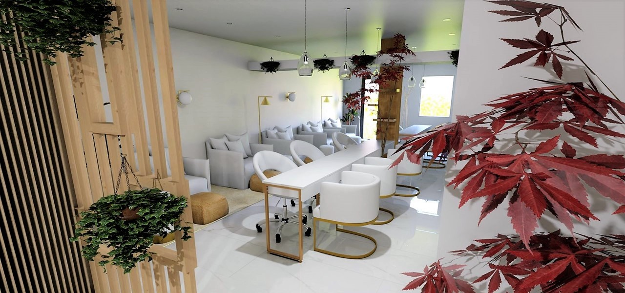 Décoration et agencement Institut de Nail Art à Marseille - Projet 3D pour l'agencement de l'espace manucure péducure, par Myll décors , Agence de décoration à Aix en Provence et dans le Var