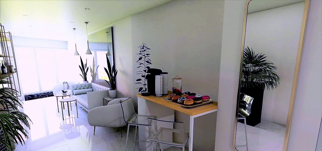 Décoration et agencement Institut de Nail Art à Marseille - Projet 3D pour l'agencement du salon d'attente espace café, par Myll décors , Agence de décoration à Aix en Provence et dans le Var