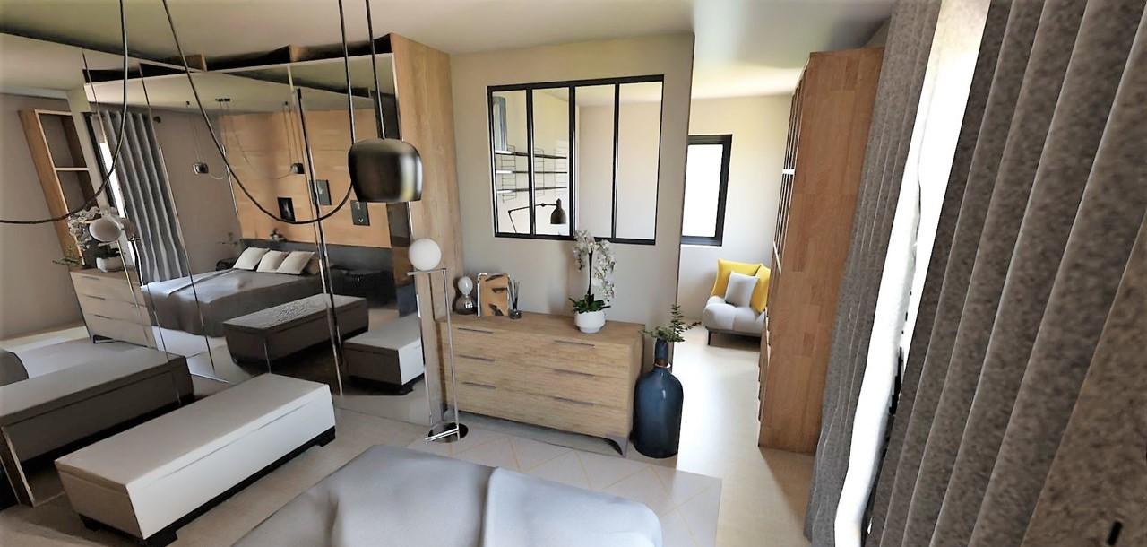 Décoration et agencement d'une villa à Ensues La Redonne- La chambre avec meubles en bois et verrière, par Myll décors , Agence de décoration à Aix en Provence et dans le Var