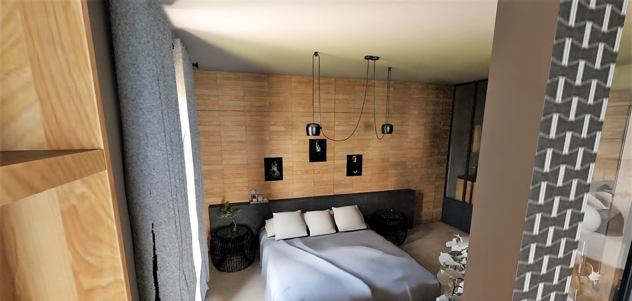 Décoration et agencement d'une villa à Ensues La Redonne- La chambre avec tête de lit en bois , par Myll décors , Agence de décoration à Aix en Provence et dans le Var
