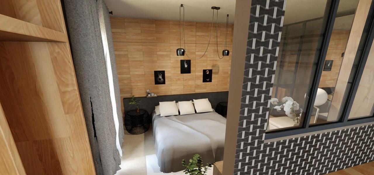 Décoration et agencement d'une villa à Ensues La Redonne- La chambre avec verrière et papier peint géométrique noir, par Myll décors , Agence de décoration à Aix en Provence et dans le Var