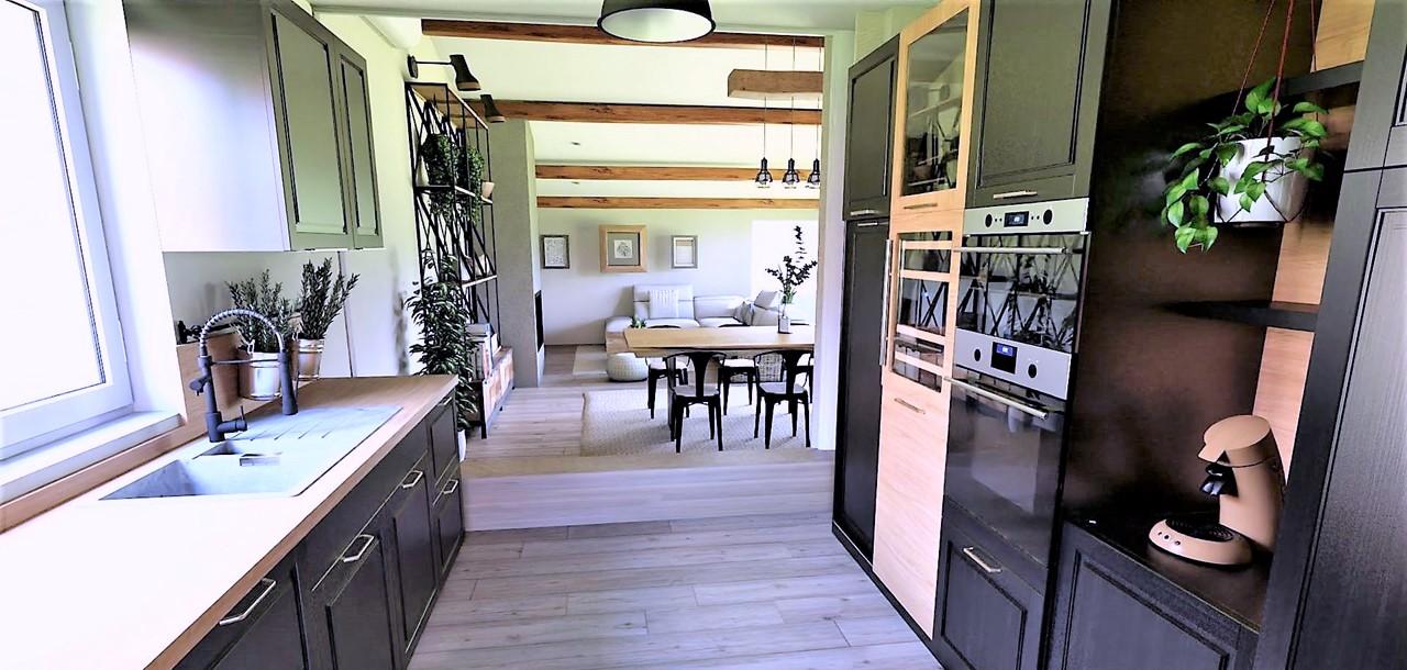 Décoration et agencement d'une villa à Ensues La Redonne- La cuisine noire et bois, par Myll décors , Agence de décoration à Aix en Provence et dans le Var