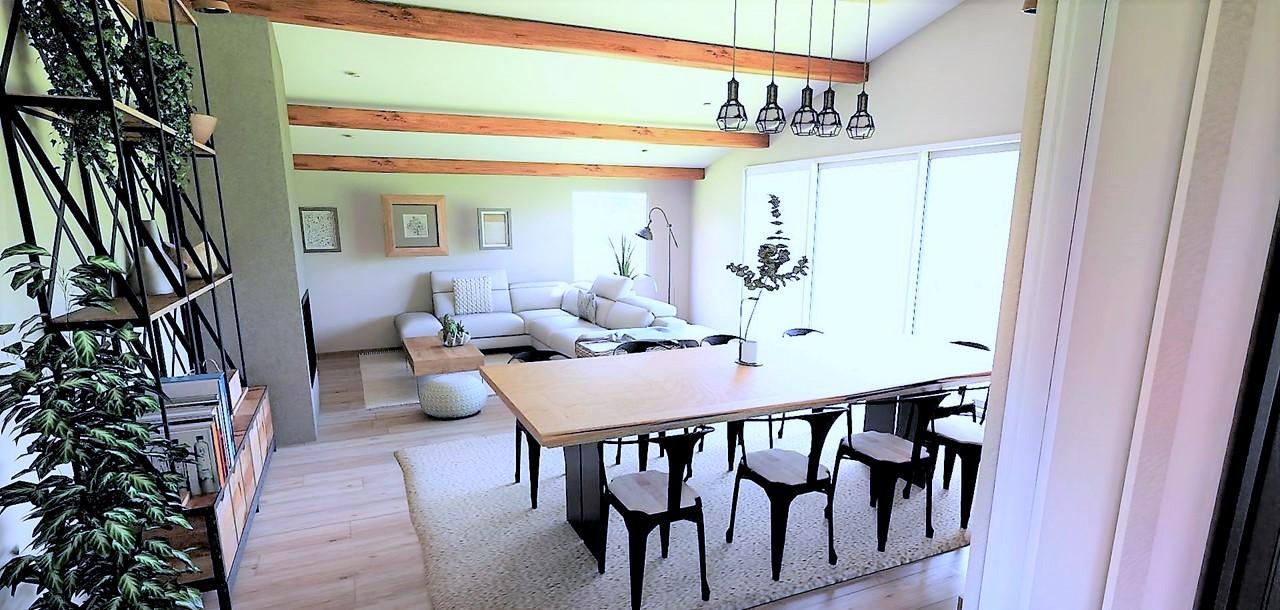 Décoration et agencement d'une villa à Ensues La Redonne- Le salon salle à manger bois et métal dans un style industriel et cosy, par Myll décors , Agence de décoration à Aix en Provence et dans le Var