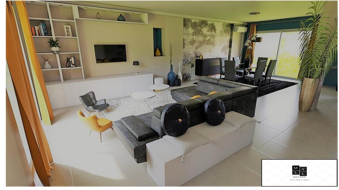 Décoration et agencement d'une villa à la Seyne sur mer- Le Projet 3D de la pièce de vie, par Myll décors , Agence de décoration à Aix en Provence et dans le Var