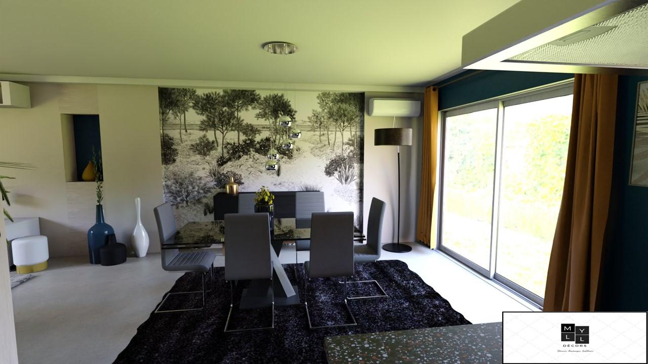 Décoration et agencement d'une villa à la Seyne sur mer- Le Projet 3D de la salle à manger, par Myll décors , Agence de décoration à Aix en Provence et dans le Var