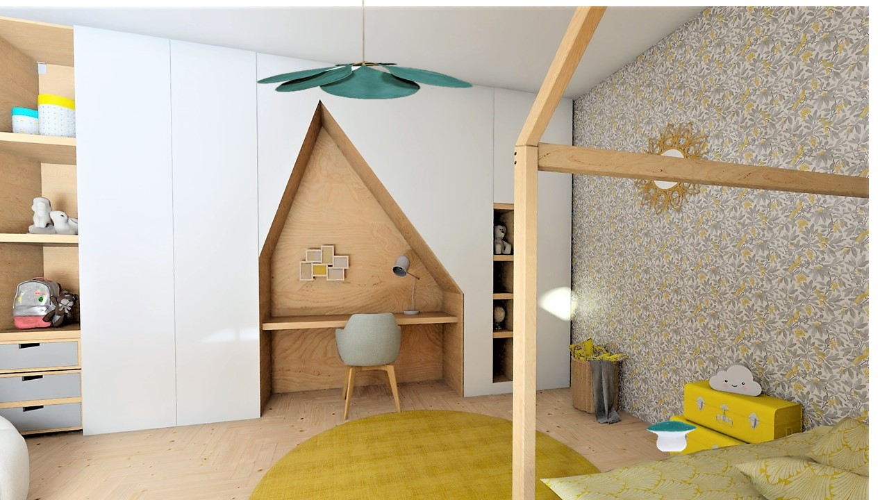 La chambre d'enfant avec meuble sur mesure blanc et bois et suspension fleur, par Myll décors , Agence de décoration à Aix en Provence et dans le Var