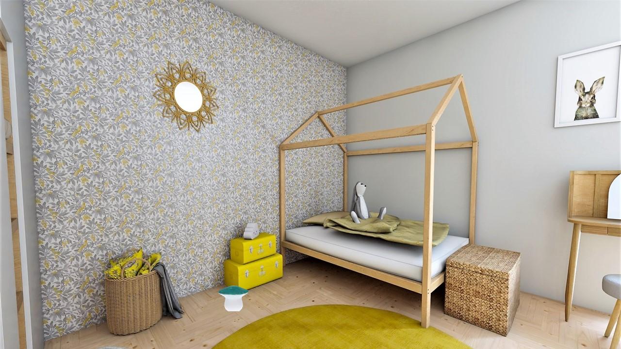 La chambre d'enfant avec papier peint jaune et gris, par Myll décors , Agence de décoration à Aix en Provence et dans le Var