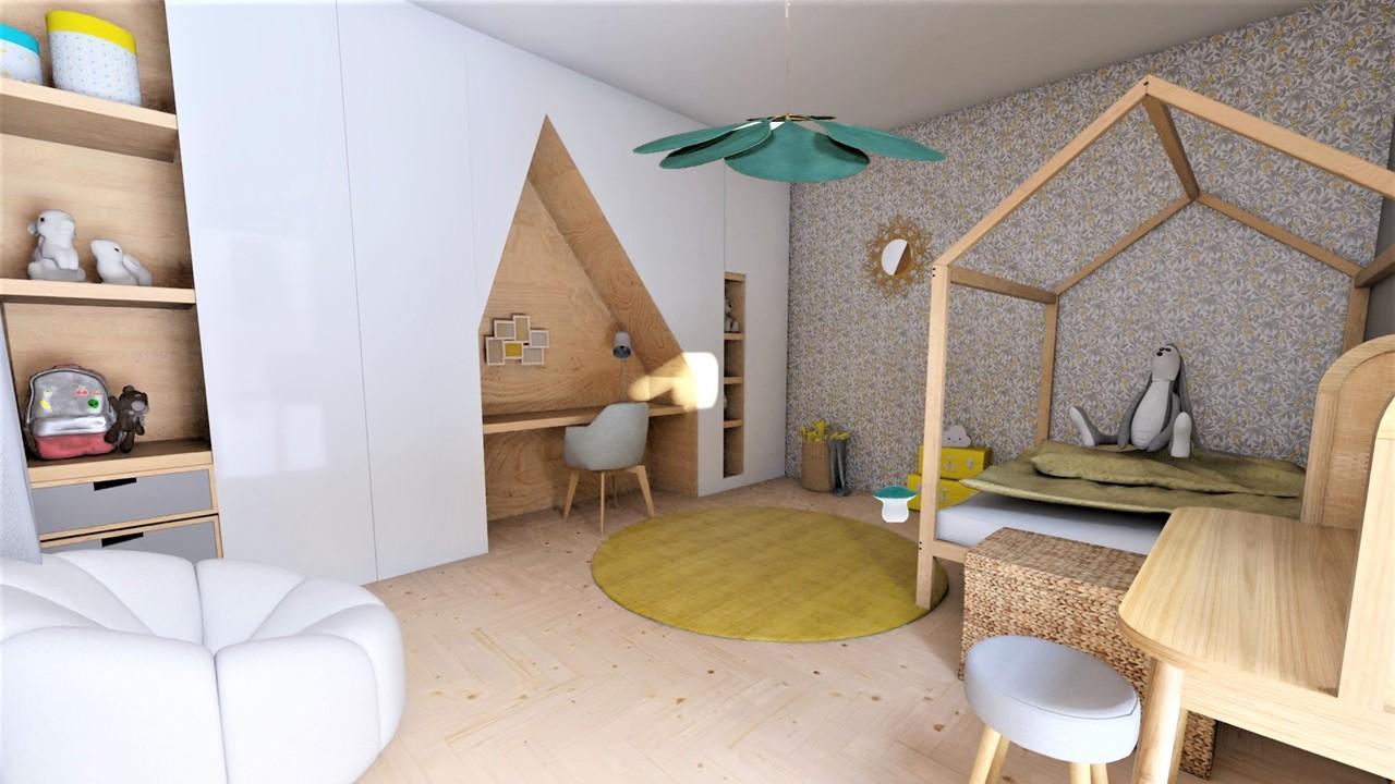 La chambre d'enfant gris et jaune avec meuble sur mesure bois et blanc, par Myll décors , Agence de décoration à Aix en Provence et dans le Var