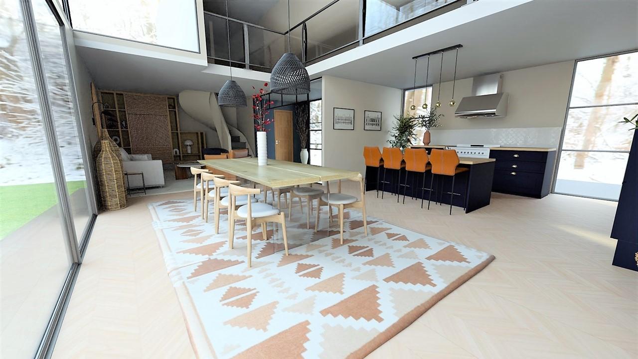 Décoration et agencement villa à Cabriès - La cuisine bleu ffoncé et bois avec ilot central, par Myll décors , Agence de décoration à Aix en Provence et dans le Var