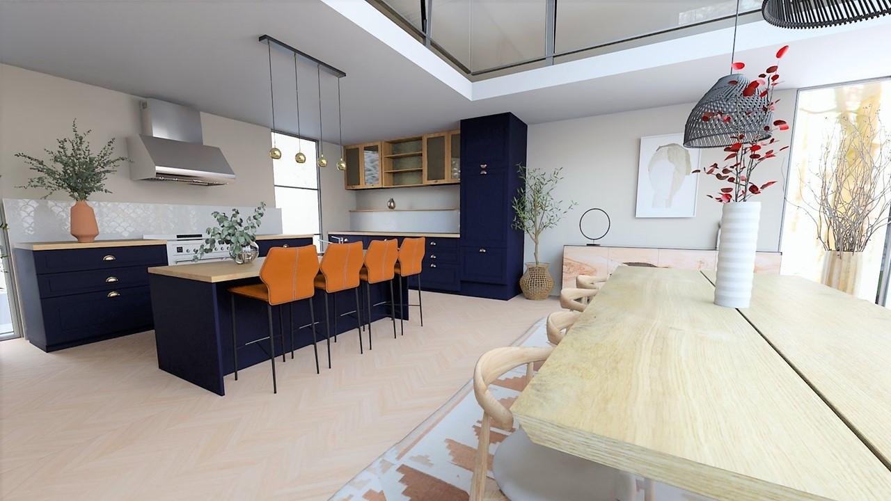 Décoration et agencement villa à Cabriès - La cuisine bleu foncé et bois avec crédence en zelliges, par Myll décors , Agence de décoration à Aix en Provence et dans le Var