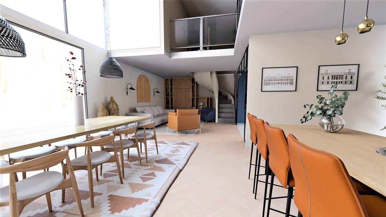 Décoration et agencement villa à Cabriès - La salle à manger avec grande table en bois et suspensions en rotin noir, par Myll décors , Agence de décoration à Aix en Provence et dans le Var