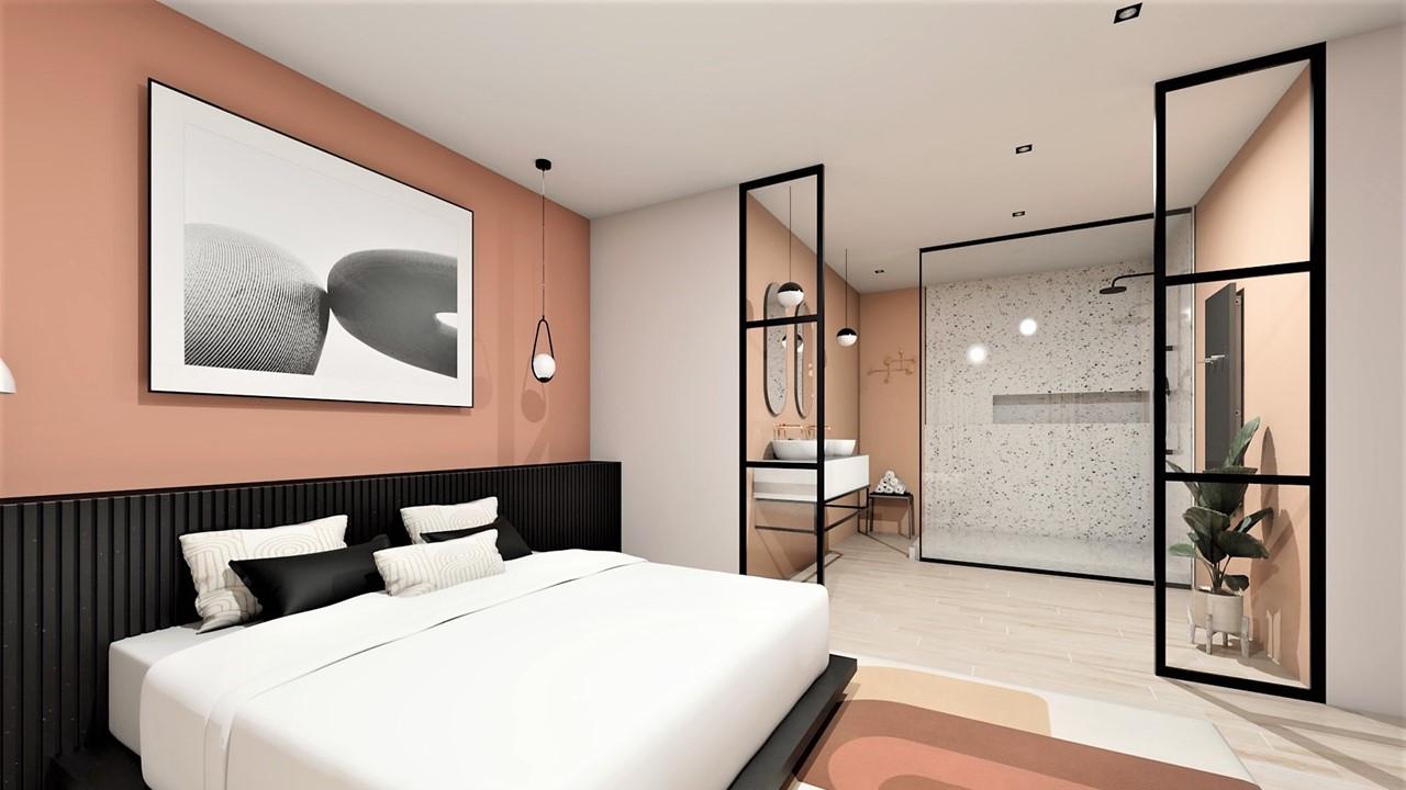 Décoration et agencement villa à Cabriès - La suite parentale avec salle de bain en terrazzo et terracotta, par Myll décors , Agence de décoration à Aix en Provence et dans le Var