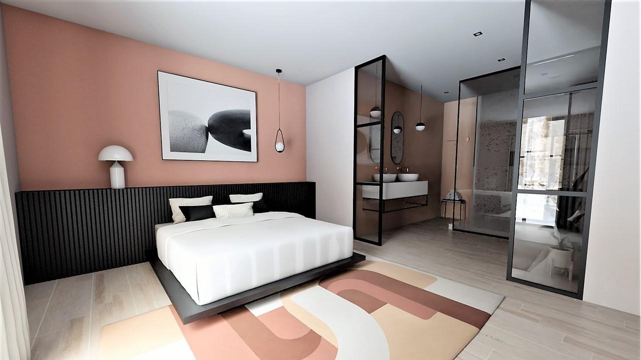 Décoration et agencement villa à Cabriès - La suite parentale avec tête de lit claustra et terracotta, par Myll décors , Agence de décoration à Aix en Provence et dans le Var