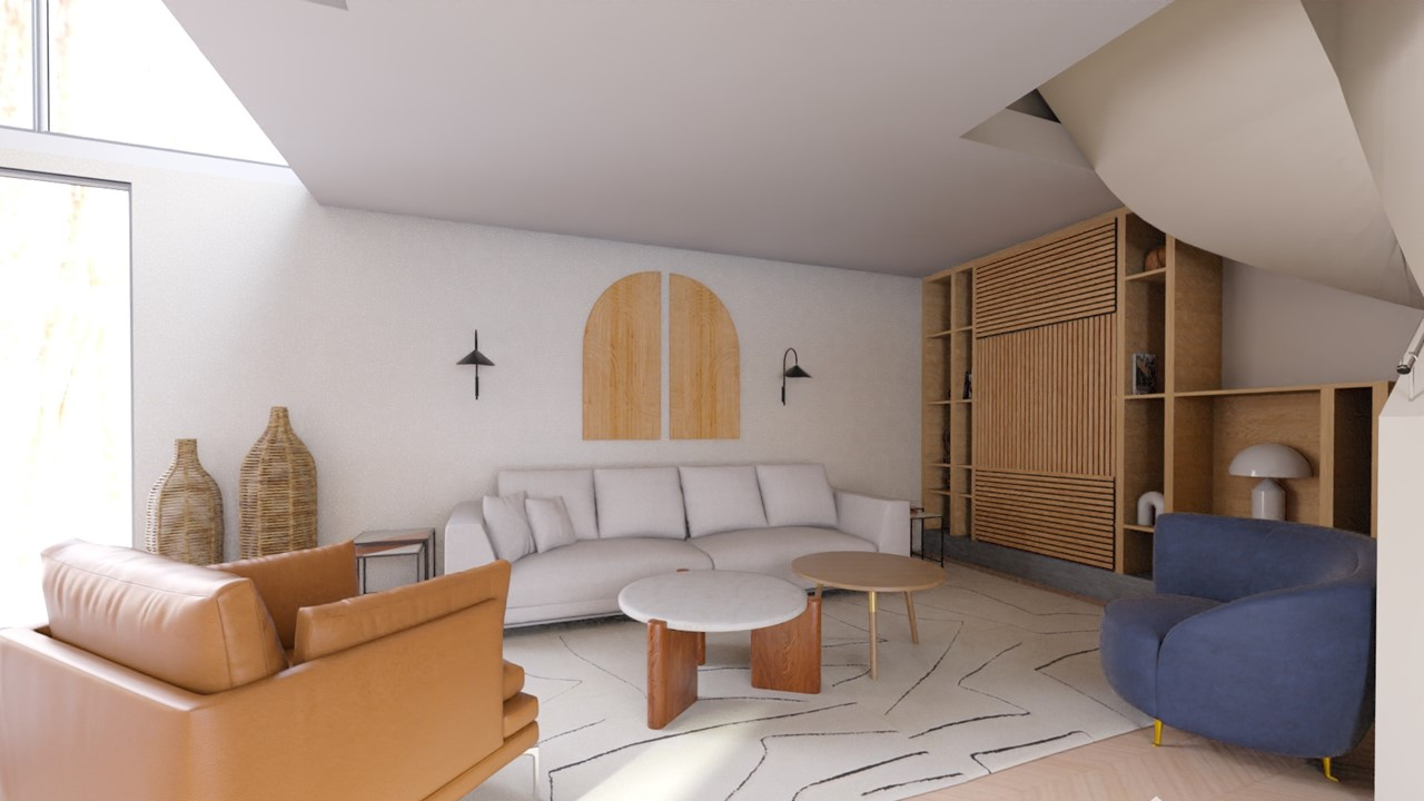 Décoration et agencement villa à Cabriès - Le salon style ethnique avec meuble sur mesure en bois, par Myll décors , Agence de décoration à Aix en Provence et dans le Var