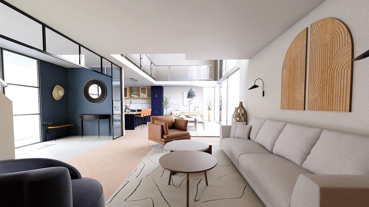 Décoration et agencement villa à Cabriès - L'entrée bleu profond avec verrières, par Myll décors , Agence de décoration à Aix en Provence et dans le Var